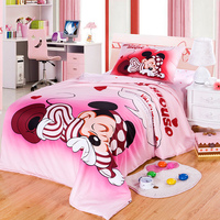 DISNEY Brand 100% Cotton Mickey Mouse Pink Duvet Cover Cartoon Bedding Set Sheet Set Single Queen Size For Children Beddings