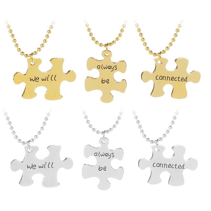 Мы будем всегда быть на связи 3 шт./компл. головоломки Best друзья Цепочки и ожерелья комплект BFF Best друг ювелирные изделия подарок для сестра ... ...