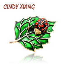 CINDY XIANG Green Color Leaf and Ladybug Brooches for Women Enamel Pins Fashion Insect Brooch Vivid Bug Accessories Kids Gift