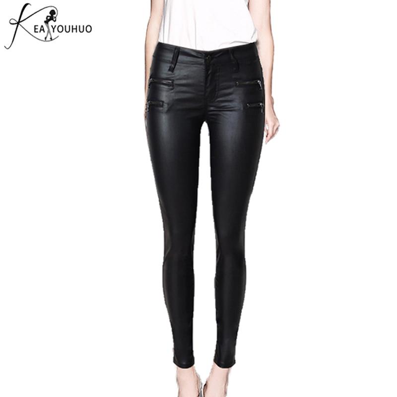 2018 Pantalones de invierno Mujer Pantalones de cuero Leggings Cintura alta Tallas grandes Jeans Pantalones de mujer Pantalones negros lápiz Pantalon Mujer Femme