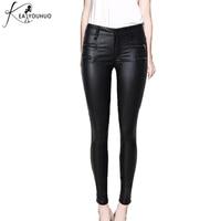 Senhoras Calças de Couro Calças Leggings Mulheres Sexy Cintura Alta Com Zíper Calças Mulher Calças Lápis Preto Calças Pantalon Inferior Feminino