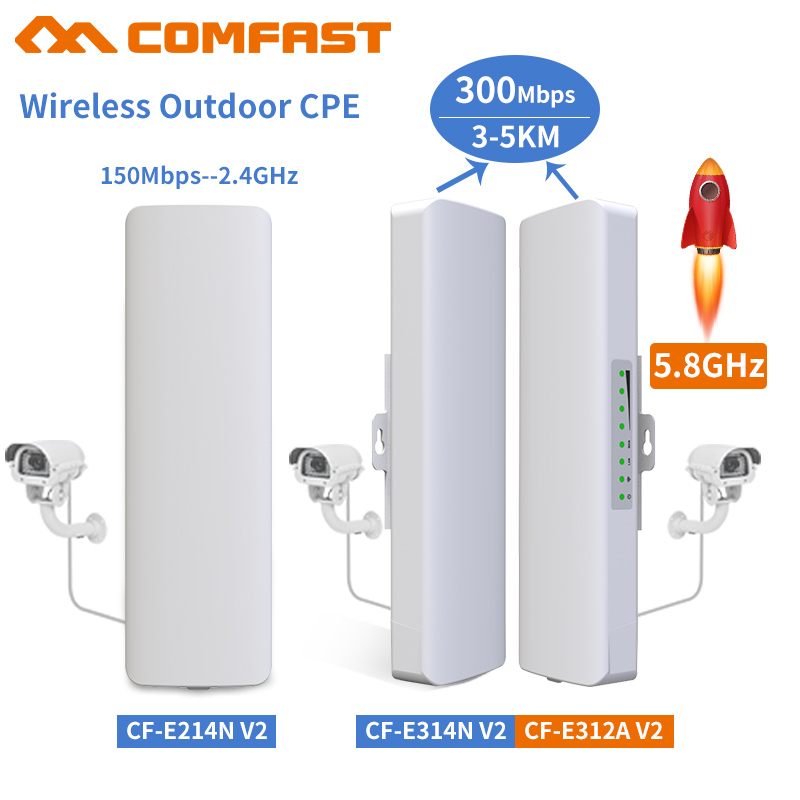 Comfast 2-5KM 2.4Ghz&5.8Ghz 150~300Mbps Outdoor Wireless Bridge CPE Router Wi Fi Signal Amplifier Booster Extender Repeater CPE