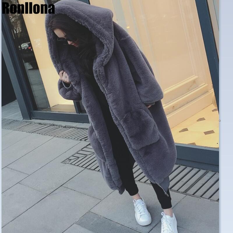 2018 L'ensemble de La Peau 105 cm Long Réel Rex De Fourrure De Lapin Manteau Avec Capuche De Fourrure Naturelle Veste Lapin Véritable Grande Taille pour Femmes Hiver RB-076