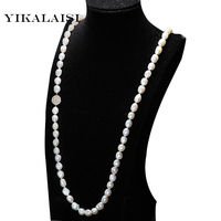 YIKALAISI 2017 New Fashion 100% fresh water pearl jewelry necklace 9 10 mm natural pearl necklace long necklace For Women
