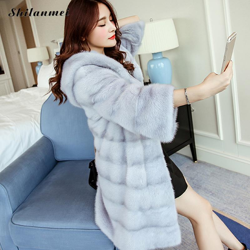 2018 модные новые зимние женские теплые пальто из искусственного меха с капюшоном женские норка, лиса длинная куртка пальто высокого качеств...