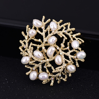 FENASY Manual DIY Handmade Elegant Irregular flower freshwater pearl brooch big tree design for women party dress coat brooch