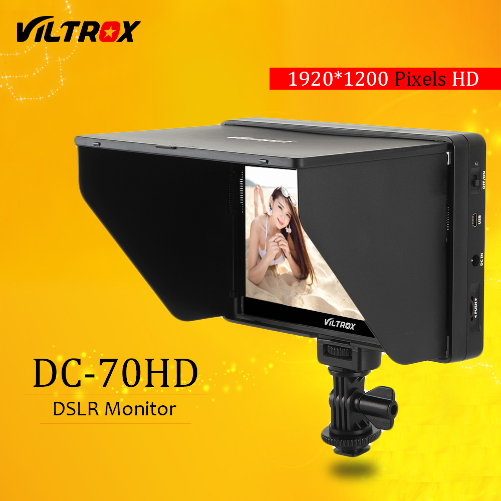 Viltrox DC-70HD Clip-on 7'' 1920x1200 IPS HD LCD Camera Video Monitor Display HDMI AV Input for Canon Nikon DSLR BMPCC 5DIV new aputure vs 5 7 inch 1920 1200 hd sdi hdmi pro camera field monitor with rgb waveform vectorscope histogram zebra false color