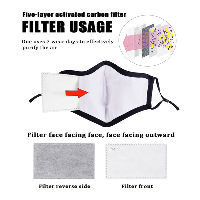 10pcs/Lot PM2.5 Filter paper Anti Haze mouth face Mask anti dust mask Filter Activated carbon filter for mask 3