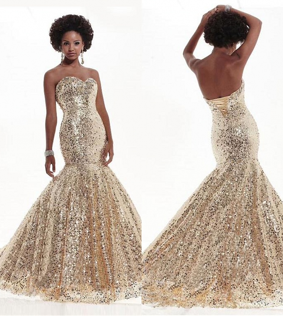 Gold Sequins Mermaid Long Prom Dresses 2017 Sweetheart Lace Up Back ...