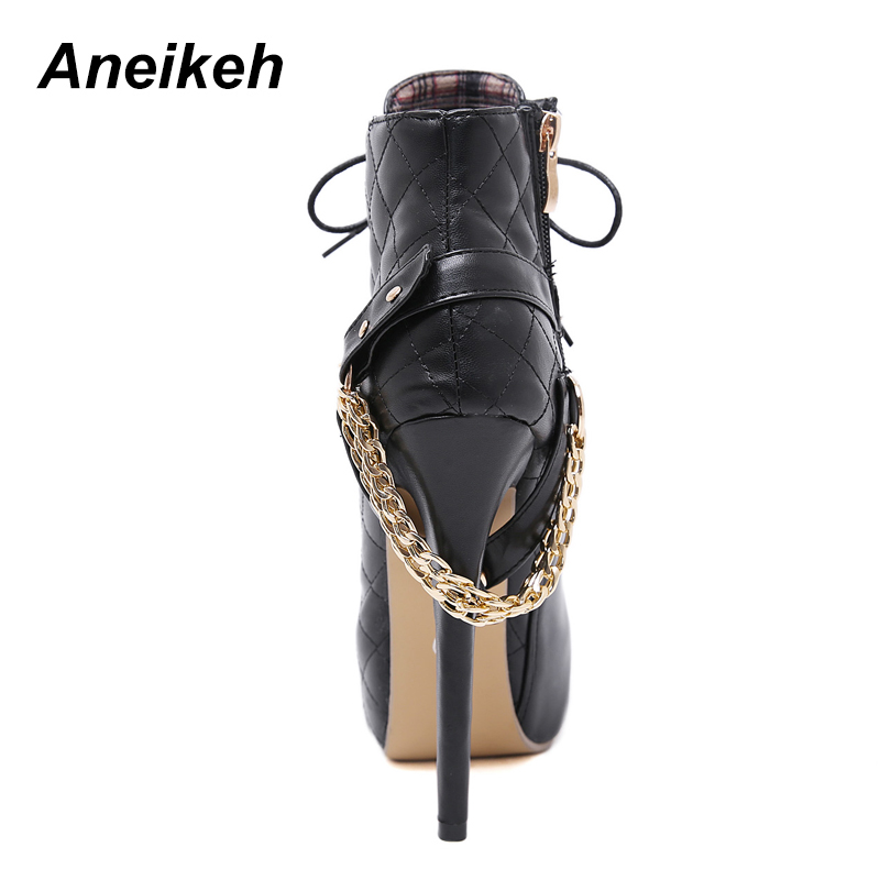 4d6df8a22c5 Aneikeh Zip Metal Chains Rivet Motorcycle Boots Women Shoes Super High  Heels Platform Ankle Boots Punk Rock Gothic Biker Boots-in Ankle Boots from  Shoes on ...