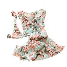 Mode Jolie 3 pcs Maillot de Bain pour les Filles Bikini Maillots De Bain Vêtements Fleur Bébé Maillots De Bain Court Maillots de Bain Soutien-Gorge + outdress
