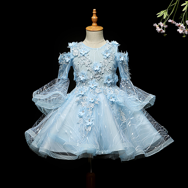 Blue Flower Girl Dresses Weddings Ball Gown Pageant Girl Princess Dress Girl Party Dress Birthday Clothes