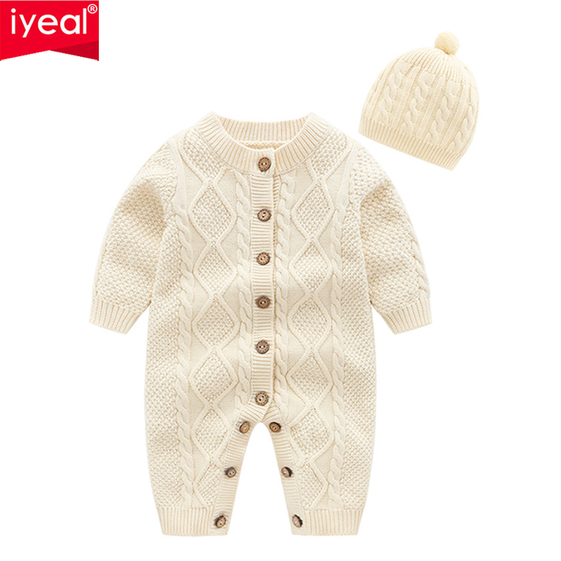 IYEAL Infant Newborn Baby Sweater Romper With Hat Toddler Girls Boys Knit Baby Clothes Kids Warm Outfit Soft Wool Coveralls sr039 newborn baby clothes bebe baby girls and boys clothes christmas red and white party dress hat santa claus hat sliders