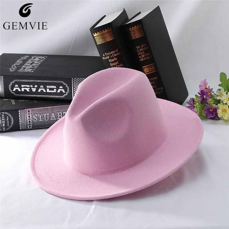 Solid Color Fedoras Women Jazz Cap Classical Pink Jazz Hat Wide Flat Brim  Outdoor Sunhat Adjustable bad63d034c89