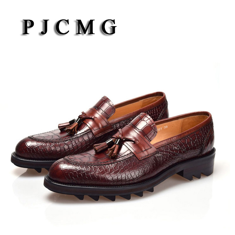 PJCMG New Men's British Style Genuine Crocodile Pattern Leather Pointed Toe Lace-Up Cowhide Dress Wedding  Flat Oxford Men Shoes