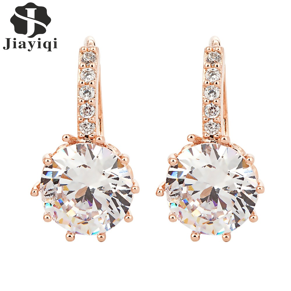 2018 New Vintage Boucles D'oreilles Or Rose Cristal CZ Bling Boucles - Bijoux fantaisie - Photo 2