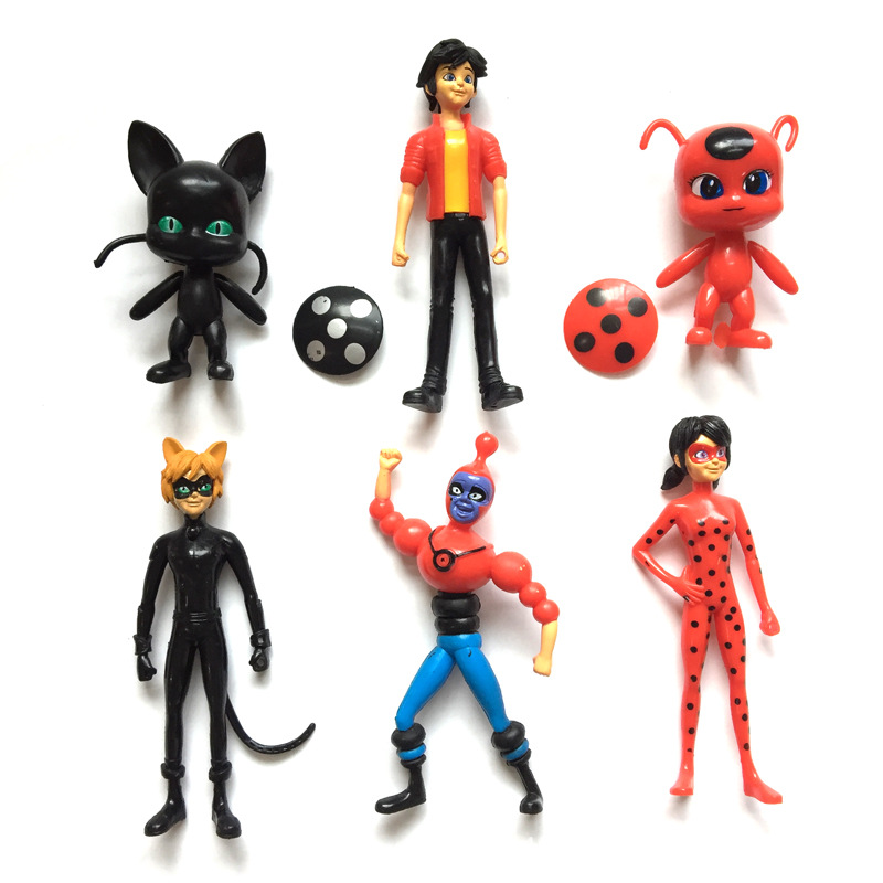 2017 New 6pcs / Set Christmas Ladybug and cat toy doll new year Ladybug in action figure PVC for kids gifts lady bug dolls