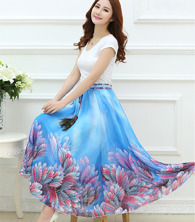 9eca76f779 2015 Brand New Summer Women Skirts Feathers Bohemian Flower Print Girls  Elegant Chiffon Maxi Long Floral Skirt Free Size