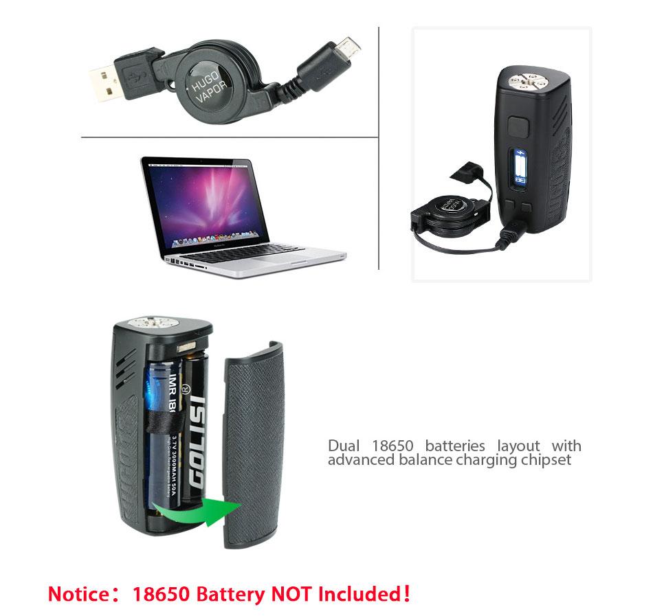 , Original 200w Hugo Vapor HUGO133 Box Mod with Max 200W Output & 0.91-inch OLED Screen E-cig Vape HUGO133 Mod No Battery