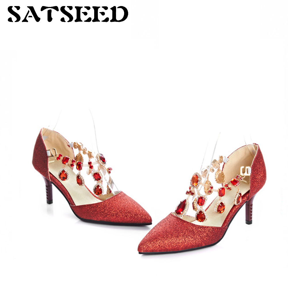 2018 Women Shoes Size 33 Shoe Red Crystal Wedding Shoes Blue High Heel Pumps Women Big Size 43 Pointed Toe Sexy Dress Pumps New 2018 new plus big size 33 44 black red peep toe fashion sexy high heel platform spring autumn lady shoes women pumps d1103