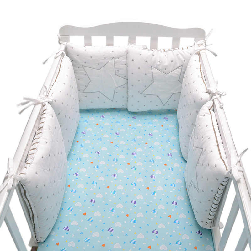 6 PCS เด็กกันชนผิวเปลเด็กเตียงกันชนเด็กทารกล้างทำความสะอาดได้อุปกรณ์เสริมรอบเตียง Protector เนอสเซอรี่กันชน