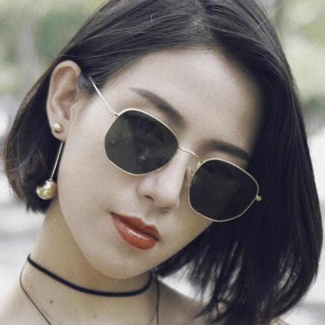 Fashion Sunglasses Women Brand Designer Hexagon Small Metal Frame Polygon Clear Lens Sunglasses Men Vintage Sun Glasses UV400