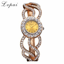Lvpai Brand Gold Alloy Fashion Flower Bracelet Watch Women Multicolor Fashion Quartz Wristwatch Rhinestone Casual Watches XR1960