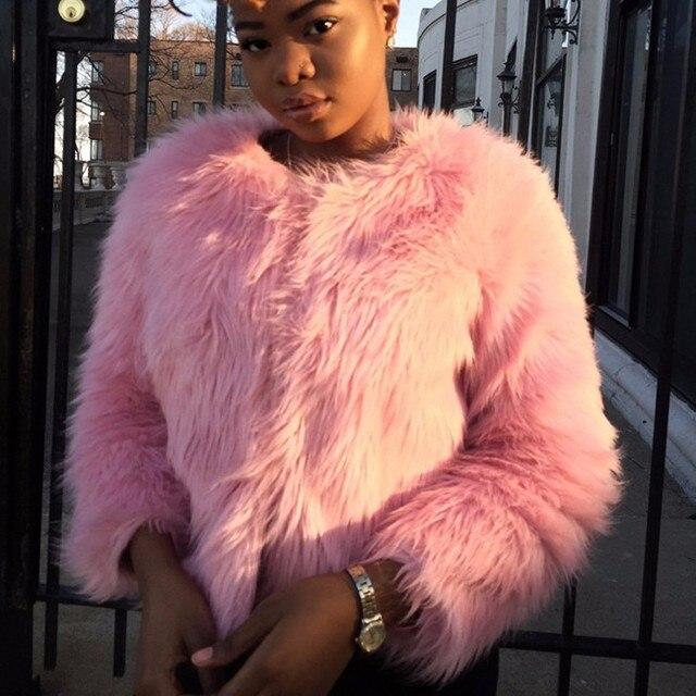 2016 Новый Искусственный Мех Пальто Розовый черный синий Мех Верхняя Одежда Леди Зима С Длинным Рукавом Меховая Куртка пальто больших ярдов