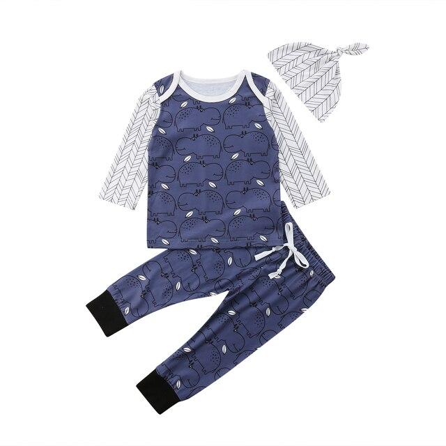 5eb0a8eaa872 Newborn Kid Baby Girl Boy Cute Hippo Pattern 3PCS Clothes Long ...