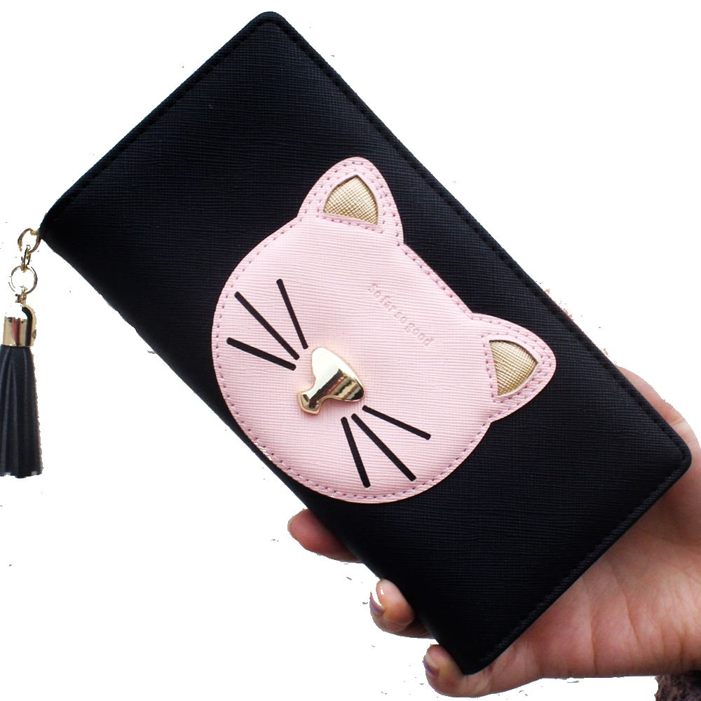 Cute Cartoon Cat wallet Women Purse Wallet Hasp Card ID Holder Lady Fashion Clutch Purse Female Long short Zipper Money Bag #30 blingbling shiny sequins leather wallet women short zipper wallet purse fashion wallet key coins bags female clutch money bags