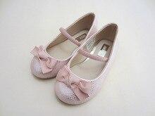 girls Pink bow serpentine PU children shoes gkids ballet shoes