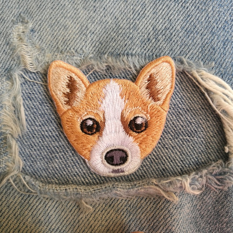 1 Pic 4.6*4.2cm Embroidery Cloth Sticker Computer Embroidery Chapter Personality Diy Welsh Corgi Dog Clothes Patch