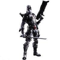 Play Arts Kai Figura X Men X-MEN Deadpool Deadpool Gris Edición Wade Winston Wilson Juego Arte KAI PVC Figura de Acción de 26 cm Muñeca juguete
