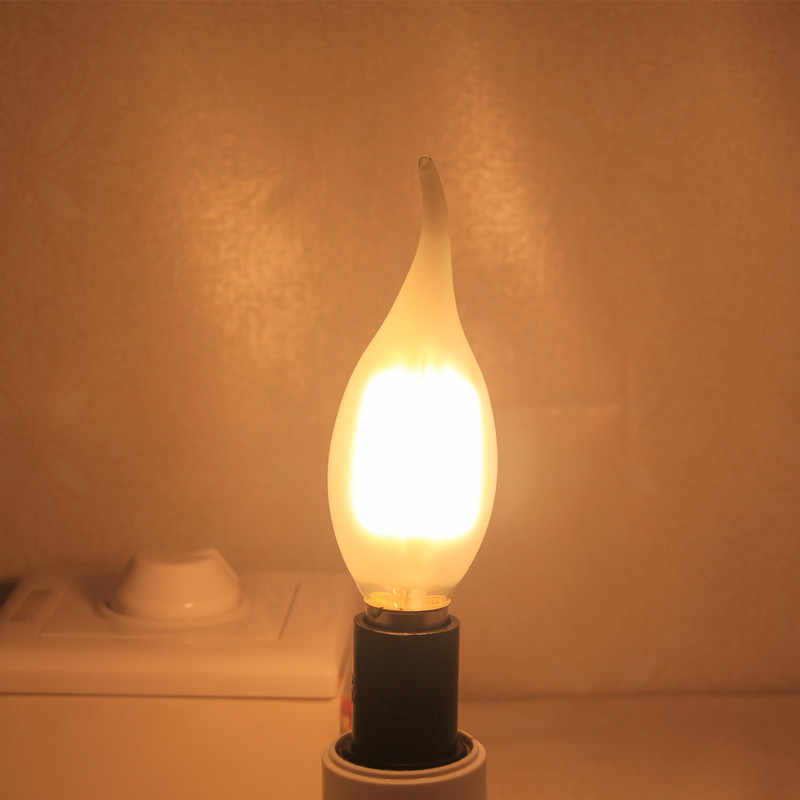 E14 COB LED lampa świeca C35 B10 2w 4w 6w płomień matowa żarówka ledowa światło 220v 230v AC kryształowy żyrandol źródło światła