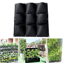 1PC 9 Pockets Vertical Planting Bags Hanging Planter Pot Vertical Garden Plant Growing Container Bag Flower Balcony Wall Seeding