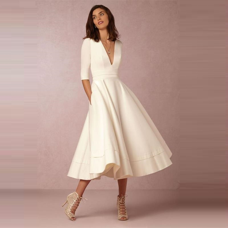 Vintage Spring Winter Dress Women 2019 Casual Plus Size Elegant Party Dresses Female Sexy V Neck Long White Dress