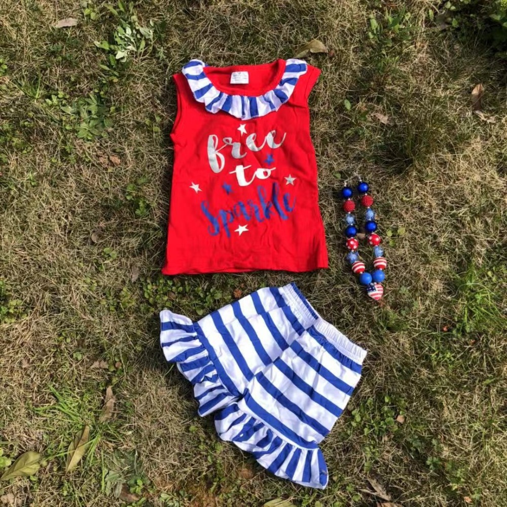 July 4th Design Women Boutique Clothes Set blue Vest Button Striped Ruffle Capris child children Independence Day Outfits Garments Clothes Units, Low cost Clothes Units, July 4th Design Women...