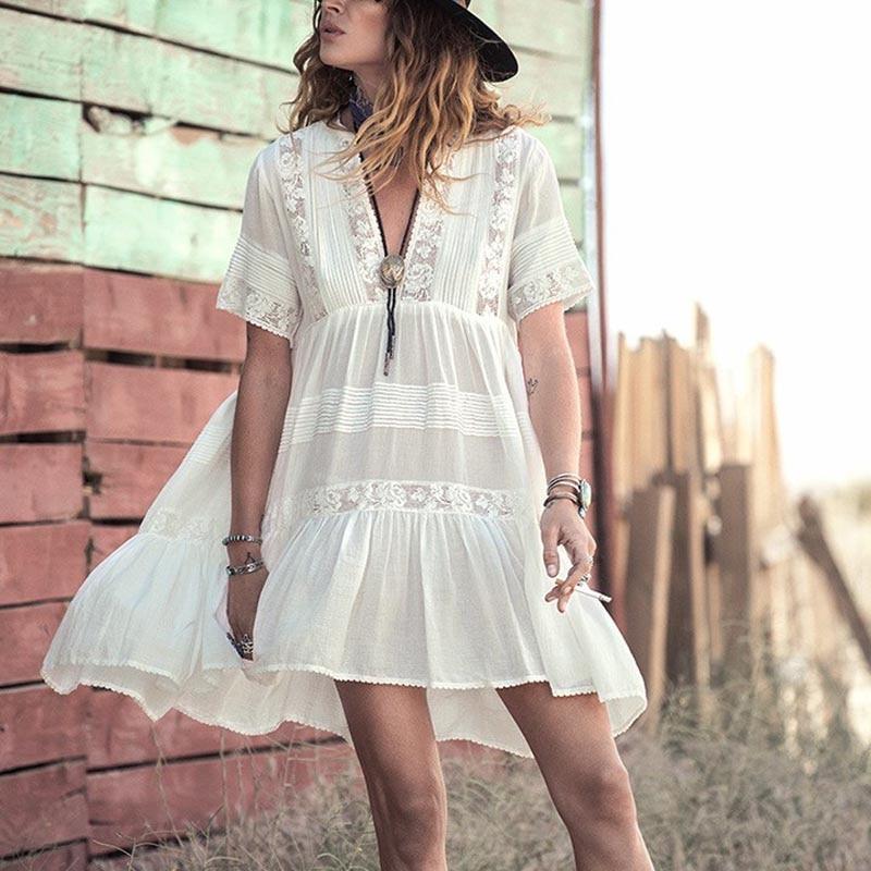 white boho dress sexy Lace stitching summer dresses short ...