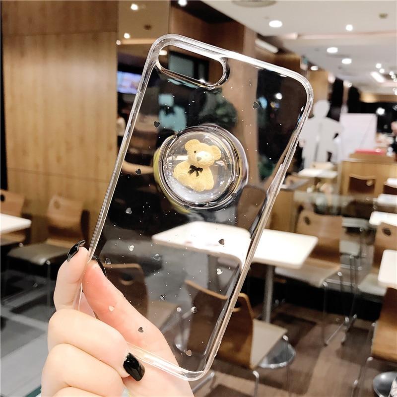 3D Cute Bear Liquid Ball Phone Case for iphone 7 7Plus Glitter Transparent Soft TPU Case For iphone 6 6s 6Plus Back Cover Case