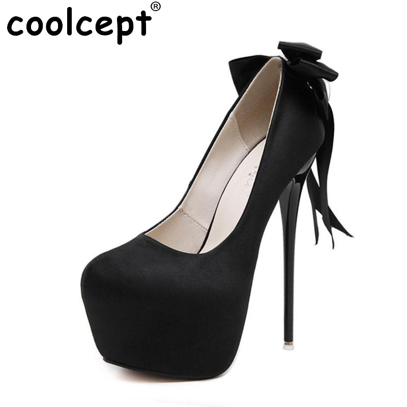 Women High Heel Shoes Pumps brand Platform Thin Heels Shoes Wedding Bowtie Pumps Fashion wedding Round Toe Footwear Size 34-40 cicime women s heels thin heel spikes heels solid slip on wedding fashion leisure casual party dressing high heel platform pumps