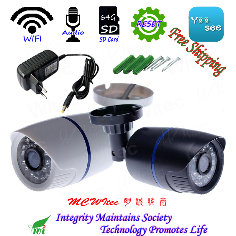 Réinitialiser 64g SD Carte Construit dans WIFI 720 p Extérieure Bullet ONVIF de Sécurité IR Nuit Audio P2P IP Cam réseau CCTV Caméra support RTSP