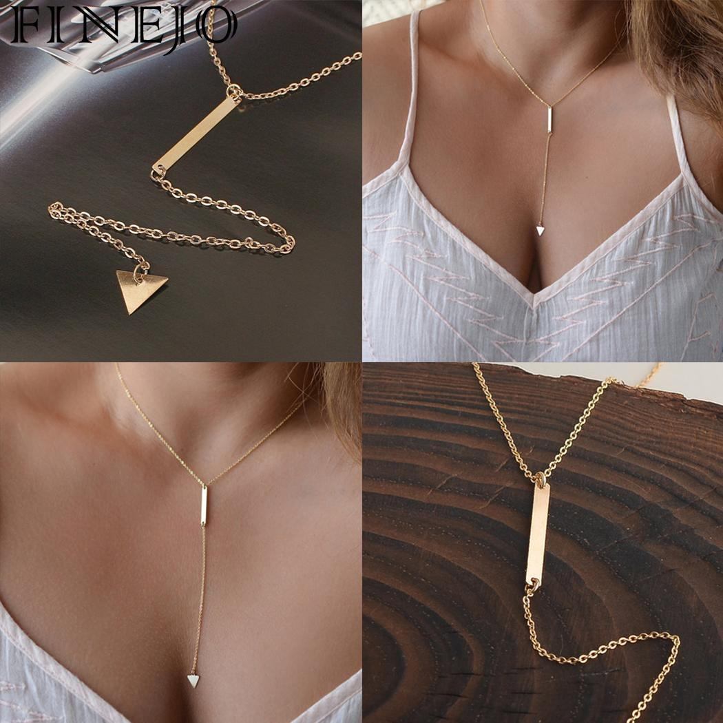 FINEJO Women Pendant Necklace Plated Lariat Jewelry For Shape