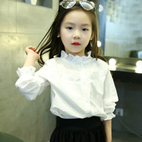 New Arrival Top Quality Baby Girl Ruffle Collar Ruffle Sleeve 100 Cotton White Shirt European Style