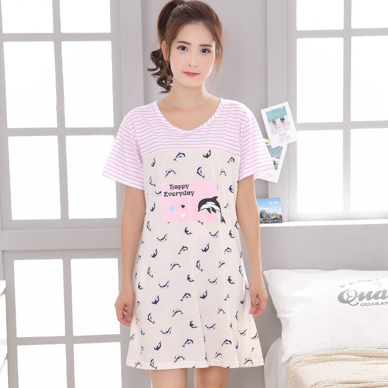 Summer Cotton Nightgown Women Sweet Girl Lounge Nightdress Cartoon ...
