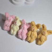 Очень милый маленький Соединенные Кролик Кролики плюшевые игрушки Малый DIY Длинные Плюшевые Совместное кролики куклы 6 см 50 шт