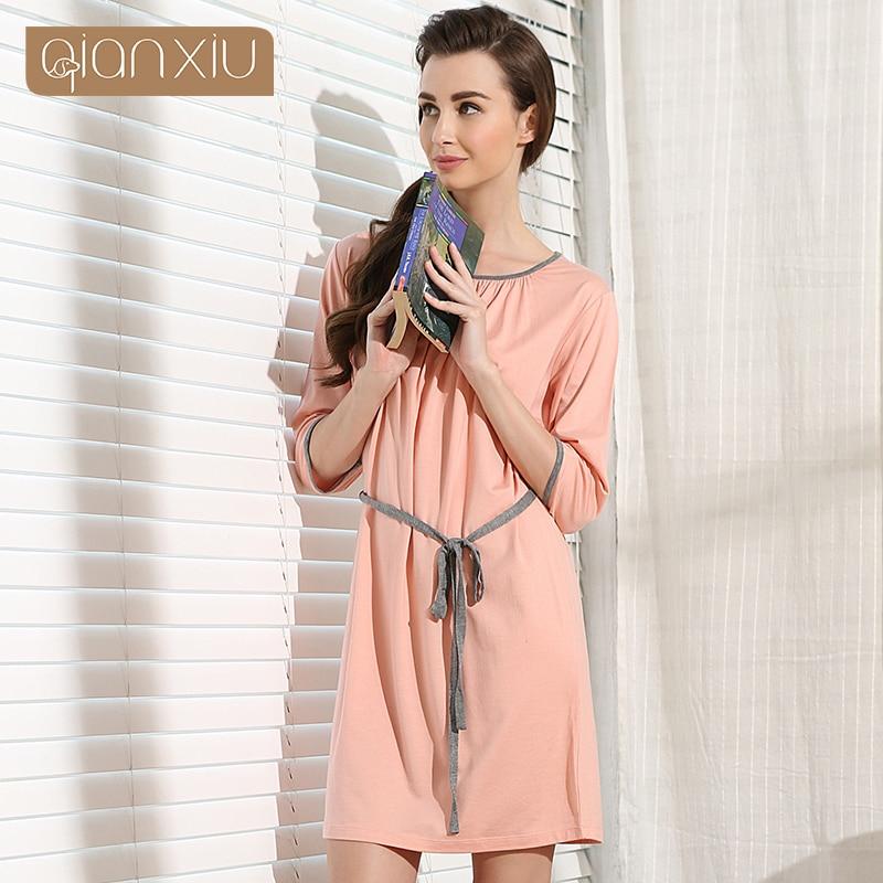 Qianxiu Nightskirt For Women Casual Girl   Nightgown   Kintted O-neck Women   Sleepshirts