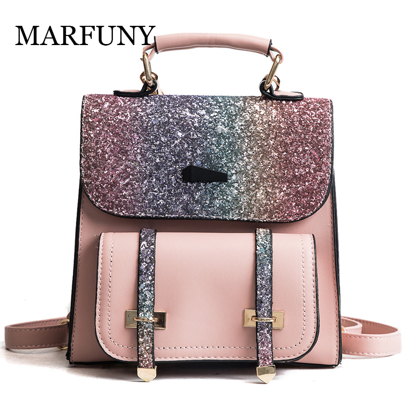 MARFUNY PU Leather Women Backpack Double Arrow Bling Sequins School Backpacks For Teenager Gold Bag For Girls Backpack Women Sac