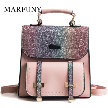 MARFUNY PU Gratë Lëkurë shpinës Shtypëse të dyfishtë Arrow Bling Sequins Backpacks School for Teenager Gold Gold Bag for Girls Backpack Women
