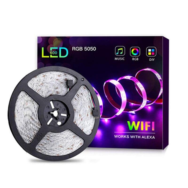 10 m 300 leds tiras de led rgb wifi suporte de controle de voz luz de