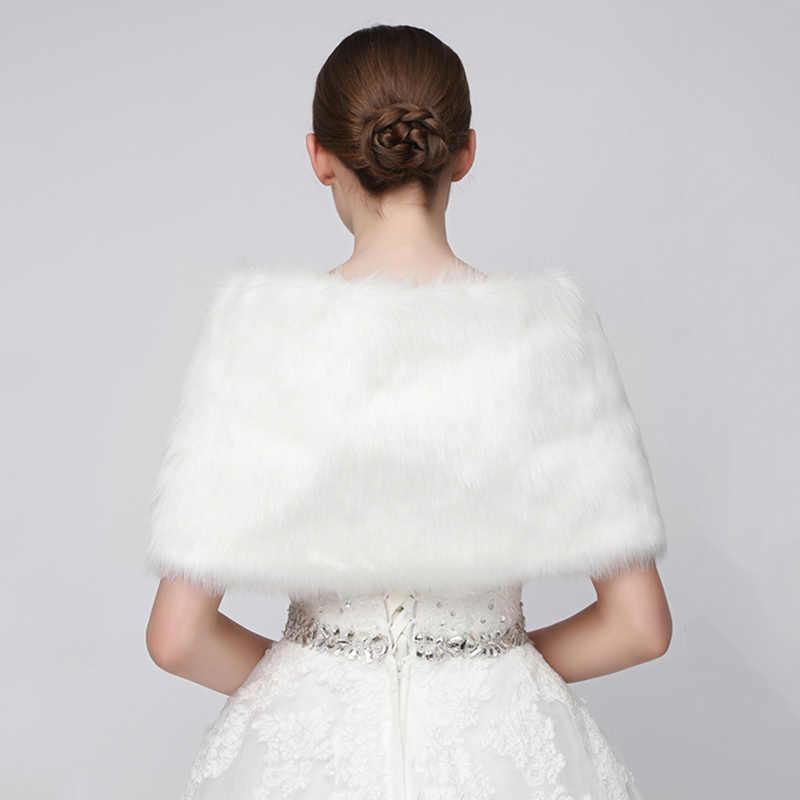 2020 Wedding Jackets Wrap Winter White Faux Fur Bridal Boleros Shrug For Evening Dresses Cheap Wedding Fur Coat Mariage 17004